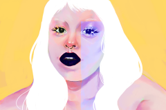 woman with black lips